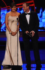 Mariska Hargitay  and Christopher Meloni at the 62nd Primetime Emmy Awards on Sunday, August  29, 2010, at the Nokia Theatre in Los Angeles.(Michael Owen Baker/ staff photographer)