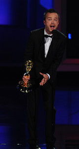 Aaron Paul won an Emmy Award for Outstanding Supporting Actor In A Drama Series for his role on 'Breaking Bad'  at the 62nd Primetime Emmy Awards on Sunday, August  29, 2010, at the Nokia Theatre in Los Angeles.(Michael Owen Baker/ staff photographer)