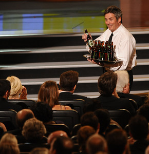 Beer is handed out to the audience at the 62nd Primetime Emmy Awards on Sunday, August  29, 2010, at the Nokia Theatre in Los Angeles.(Michael Owen Baker/ staff photographer)