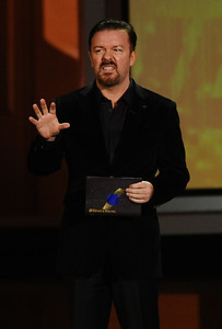 Ricky Gervais at the 62nd Primetime Emmy Awards on Sunday, August  29, 2010, at the Nokia Theatre in Los Angeles.(Michael Owen Baker/ staff photographer)