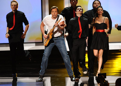 Jimmy Fallon performs at the 62nd Primetime Emmy Awards on Sunday, August  29, 2010, at the Nokia Theatre in Los Angeles.(Michael Owen Baker/ staff photographer)