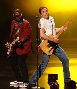 Randy Jackson and Jimmy Fallon perform  at the 62nd Primetime Emmy Awards on Sunday, August  29, 2010, at the Nokia Theatre in Los Angeles.(Michael Owen Baker/ staff photographer)