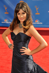 Lea Michele arrives for the 62nd Primetime Emmy Awards on Sunday, August  29, 2010, at the Nokia Theatre in Los Angeles.(John McCoy/ staff photographer)