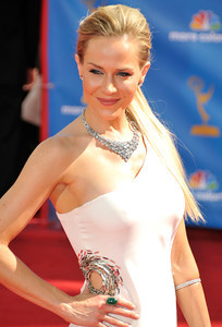 Julie Benz arrives for the 62nd Primetime Emmy Awards on Sunday, August  29, 2010, at the Nokia Theatre in Los Angeles.(John McCoy/ staff photographer)