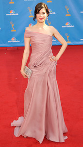 Mariana Klaveno arrives for the 62nd Primetime Emmy Awards on Sunday, August  29, 2010, at the Nokia Theatre in Los Angeles.(John McCoy/ staff photographer)