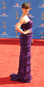 Emily Deschanel arrives for the 62nd Primetime Emmy Awards on Sunday, August  29, 2010, at the Nokia Theatre in Los Angeles.(John McCoy/ staff photographer)