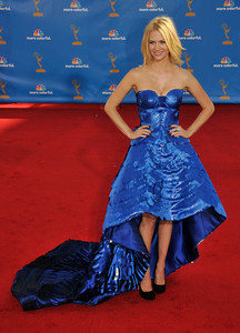 January Jones arrives for the 62nd Primetime Emmy Awards on Sunday, August  29, 2010, at the Nokia Theatre in Los Angeles.(John McCoy/ staff photographer)
