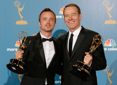 "Aaron Paul, left, holds his award for outstanding supporting actor in a drama series and Bryan Cranston holds his for outstanding lead actor in a drama series, both for their work on ""Breaking Bad,"" duirng the 62nd Primetime Emmy Awards on Sunday, August  29, 2010, at the Nokia Theatre in Los Angeles.(David Crane/ staff photographer)"
