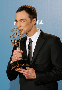 Actor Jim Parsons poses with his trophy during the 62nd Primetime Emmy Awards on Sunday, August  29, 2010, at the Nokia Theatre in Los Angeles.(David Crane/ staff photographer)
