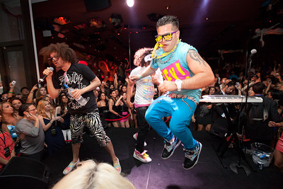 LMFAO performs with Paris Hilton at Surrender Nightclub at Encore in Las Vegas, NV on May 30, 2010