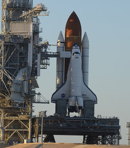 Endeavour sits on the launch pad after problems with the shuttle Endeavour's hydraulic power system forced NASA managers to scrub Friday's planned launch on a space station assembly mission, disappointing thousands of spectators and spoiling a visit by President Obama and his family.  Kennedy Space Center FL. April 28,2011. Photo by Gene Blevins/LA Daily News