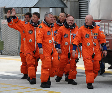 The crew of space shuttle Endeavour's mission STS-134 wave before departing crew quarters for launch pad 39A  Kennedy Space Center FL. April 28,2011. Photo by Gene Blevins/LA Daily News