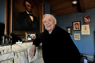 """Ernest Borgnine in the """"Lincoln Room,"""" at his house. Borgnine will be honored with a Screen Actors Guild Lifetime Acheivement Award on January 30. Beverly Hills, CA 1-21-2011. (John McCoy/staff photographer)"""