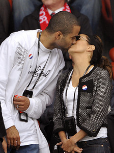 French basketball player Tony Parker (L)