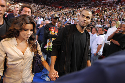 French basketball player Tony Parker (R)
