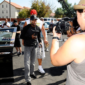 """FLOYD """"MONEY"""" MAYWEATHER arrives in style for his media work  out  for his September 17th world champion fight with Victor Ortiz in Las Vegas NV. Sept 6,2011 photo by Gene Blevins/LA DAILYNEWS"""