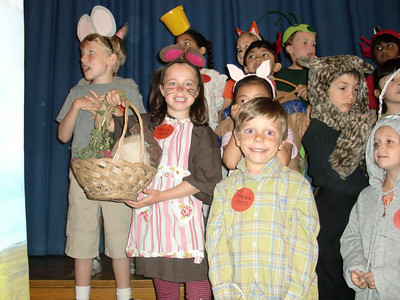 First-graders in Mrs. Rori Albert and Mrs. Juli Petrilli's classes at Balboa Magnet Elementary School in Northridge on Friday, May 14, 2010, performed in a Fable Wax Museum, creating backgrounds and costumes for Aesop's Fables. When parents and other guests press the button on their costume, the students recited their fables and the moral of the story and then asked those listening to guess the title of their fable. (Steven Rosenberg/Daily News)