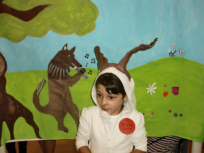 Ava Rosenberg, 6, is one of the first-graders performing in a Fable Wax Museum at Balboa Magnet Elementary School in Northridge on Friday, May 14, 2010. The students created backgrounds and costumes for Aesop's Fables. When parents and other guests press the button on their costume, the students recited their fables and the moral of the story and then asked those listening to guess the title of their fable. (Steven Rosenberg/Daily News)