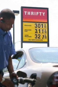A customer puts gas in his car at a Thrifty gas station in Woodland Hills, Ca., Tuesday July 24, 2007. (Michael Owen Baker, Los Angeles Daily News)