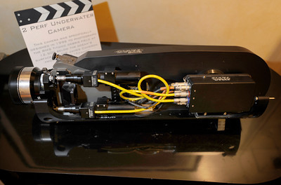 """This 2 Perf Underwater Camera was designed in 1996 to photograph the RMS Titanic debris field 12,500 feet below the surface of the ocean during the James Camera production of """"Titanic."""" Woodland Hills, CA 1/20/2012(John McCoy/Staff Photographer)"""