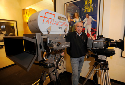 """Bob Harvey is the Senior Vice President of World Wide Sales for Panavision. The large Panavision 70 camera is a film camera, and was used for the 1962 film, """"Lawrence of Arabia."""" The smaller Panavision Genesis is a digital model that is favored for many productions today.  Woodland Hills, CA 1/20/2012(John McCoy/Staff Photographer)"""