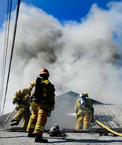 LA city firefighters battle a house fire on 15739 Romar St. The home and garage were destroyed by the fire and one person was taken to the hospital with minor injuries in Mission Hills CA.  June 130,2010. Photo by Gene Blevins/LA Daily  News