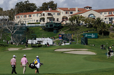 The Riviera Clubhouse stans out above the 9th green on a clear sun shiny during the first round of the Northern Trust Open at Riviera Country Club in Pacific Palisades , CA. 2-17-2011. (John McCoy/staff photographer)