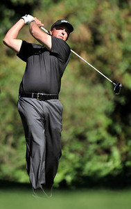 Phil Mickelson hits on the 12th tee during the first round of the Northern Trust Open at Riviera Country Club in Pacific Palisades , CA. 2-17-2011. (John McCoy/staff photographer)