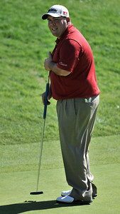 Kevin Stadler is unhappy with his put on the 9th green during the first round of the Northern Trust Open at Riviera Country Club in Pacific Palisades , CA. 2-17-2011. (John McCoy/staff photographer)