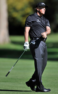 Phil Mickelson looks at his approach shot on #12 during the first round of the Northern Trust Open at Riviera Country Club in Pacific Palisades , CA. 2-17-2011. (John McCoy/staff photographer)