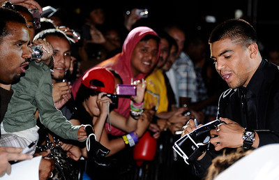 Victor Ortiz arrives  at the Nokia center during a press conference on their his upcoming fight  with Floyd Mayweather Jr. on Sept 17th at the MGM grand hotel in Las Vegas for the WBC welterweight title. Los Angeles CA. June 29,2011. photo by Gene Blevins/LA Daily News