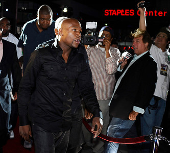 Floyd Mayweather Jr. arrives at the Nokia center during a press conference on his upcoming fight with Victor Ortiz on Sept 17th at the MGM grand hotel in Las Vegas for the WBC welterweight title. Los Angeles CA. June 29,2011. photo by Gene Blevins/LA Daily News