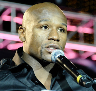 Floyd Mayweather Jr. talks at the Nokia center during a press conference on his upcoming fight  with Victor Ortiz on Sept 17th at the MGM grand hotel in Las Vegas for the WBC welterweight title. Los Angeles CA. June 29,2011. photo by Gene Blevins/LA Daily News