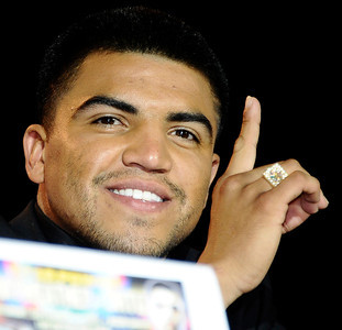 Victor Ortiz talks during at the Nokia center during a press conference on his upcoming fight with Floyd Mayweather Jr. on Sept 17th at the MGM grand hotel in Las Vegas for the WBC welterweight title. Los Angeles CA. June 29,2011. photo by Gene Blevins/LA Daily News