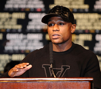 Floyd Mayweather talk during the last press conference on his upcoming fight with Victor Ortiz for the WBC welterweight title this Saturday at the MGM grand hotel in Las Vegas.  Sept 14,2011. Photo by Gene Blevins/LA Daily News