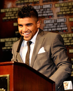 Victor Ortiz talk during the last press conference on his upcoming fight with Floyd Mayweather for the WBC welterweight title this Saturday at the MGM grand hotel in Las Vegas.  Sept 14,2011. Photo by Gene Blevins/LA Daily News