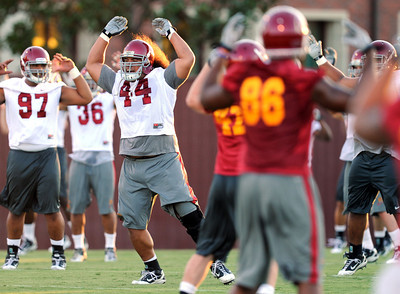 Christian Tupou #44 during football practice at USC August 4, 2011. (Hans Gutknecht/Staff Photographer)