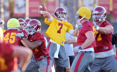 Quarterback Matt Barkley #7 during football practice at USC August 4, 2011. (Hans Gutknecht/Staff Photographer)