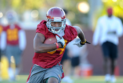 D.J. Morgan #34 during football practice at USC August 4, 2011. (Hans Gutknecht/Staff Photographer)
