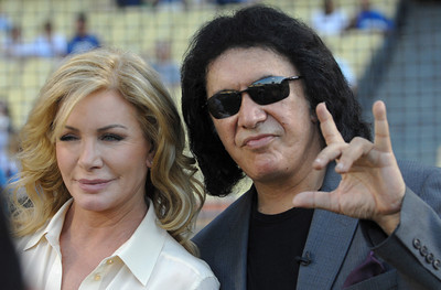 Shannon Tweed and Gene Simmons are seen on the field before Gene threw out the first pitch in a Dodger game vs the New York Mets. The Dodgers lost to the Mets 6-0 in a game played at Dodger Stadium in Los Angeles, Ca 7-5-2011. (John McCoy/Staff Photographer)