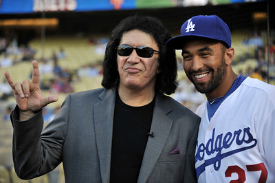 Gene Simmons with Dodger Matt Kemp. Simmons  threw out the first pitch in a Dodger game vs the New York Mets. The Dodgers lost to the Mets 6-0 in a game played at Dodger Stadium in Los Angeles, Ca 7-5-2011. (John McCoy/Staff Photographer)
