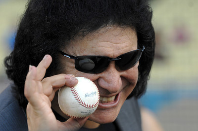 Gene Simmons before he threw out the first pitch in a Dodger game vs the New York Mets. The Dodgers lost to the Mets 6-0 in a game played at Dodger Stadium in Los Angeles, Ca 7-5-2011. (John McCoy/Staff Photographer)
