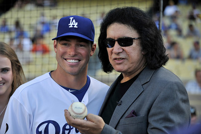 Trent Oeltjen and Gene Simmons. Simmons threw out the first pitch in a Dodger game vs the New York Mets. The Dodgers lost to the Mets 6-0 in a game played at Dodger Stadium in Los Angeles, Ca 7-5-2011. (John McCoy/Staff Photographer)