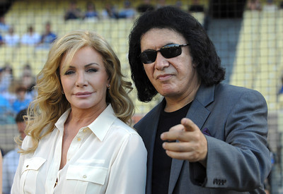 Shannon Tweed and Gene Simmons are seen down on the field before Gene threw out the first pitch in a Dodger game vs the New York Mets. The Dodgers lost to the Mets 6-0 in a game played at Dodger Stadium in Los Angeles, Ca 7-5-2011. (John McCoy/Staff Photographer)