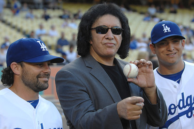 Aaron Milles, Gene Simmons and Javy Guerra.  Gene threw out the first pitch before a Dodger game vs the New York Mets. The Dodgers lost to the Mets 6-0 in a game played at Dodger Stadium in Los Angeles, Ca 7-5-2011. (John McCoy/Staff Photographer)