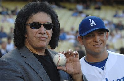Gene Simmons with Dodger Javy Guerra. Gene threw out the first pitch in a Dodger game vs the New York Mets. The Dodgers lost to the Mets 6-0 in a game played at Dodger Stadium in Los Angeles, Ca 7-5-2011. (John McCoy/Staff Photographer)