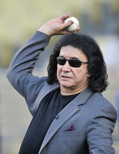 Gene Simmons warms up to throw out the first pitch before a Dodger game vs the New York Mets. The Dodgers lost to the Mets 6-0 in a game played at Dodger Stadium in Los Angeles, Ca 7-5-2011. (John McCoy/Staff Photographer)