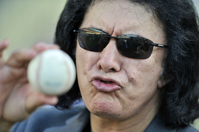 Gene Simmons before throwing out the first pitch in a Dodger game vs the New York Mets. The Dodgers lost to the Mets 6-0 in a game played at Dodger Stadium in Los Angeles, Ca 7-5-2011. (John McCoy/Staff Photographe