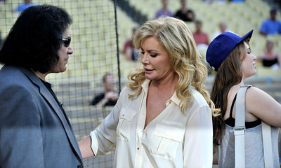 Gene Simmons and Shannon Tweed are seen before Gene threw out the first pitch in a Dodger game vs the New York Mets. The Dodgers lost to the Mets 6-0 in a game played at Dodger Stadium in Los Angeles, Ca 7-5-2011. (John McCoy/Staff Photographer)