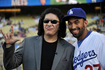 Gene Simmons and Matt Kemp. Simmons threw out the first pitch in a Dodger game vs the New York Mets. The Dodgers lost to the Mets 6-0 in a game played at Dodger Stadium in Los Angeles, Ca 7-5-2011. (John McCoy/Staff Photographer)